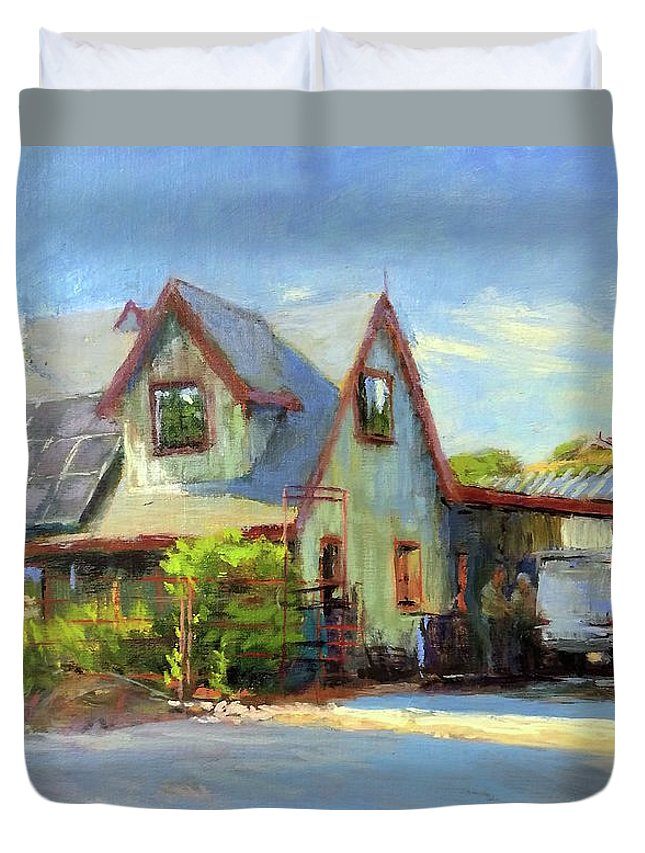 California Duvet Cover featuring the painting The Doctor Is In by Peter Salwen