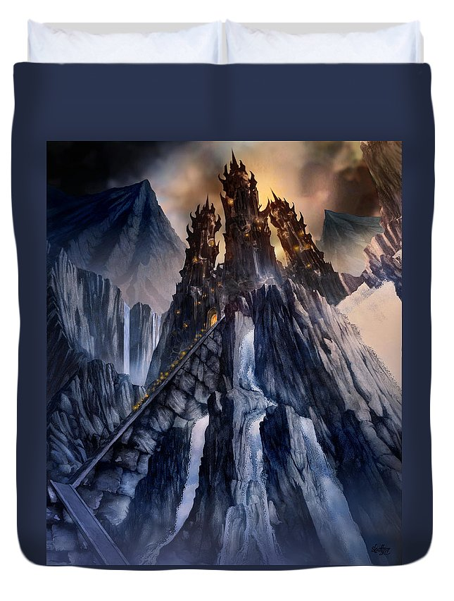 Architectural Duvet Cover featuring the mixed media The Dragon Gate by Curtiss Shaffer