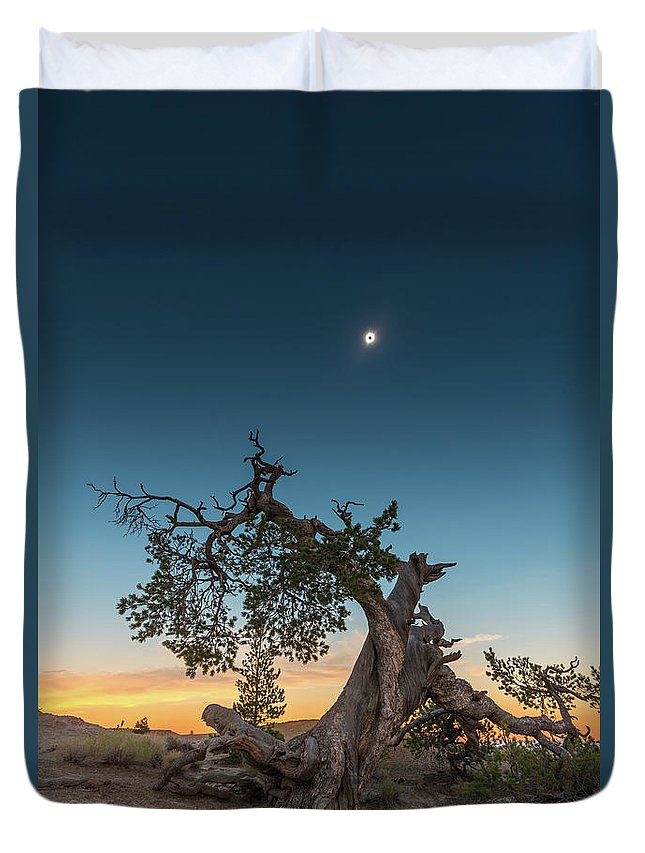 Eclipse Duvet Cover featuring the photograph The Great American Eclipse On August 21 2017 by Alexandru Conu