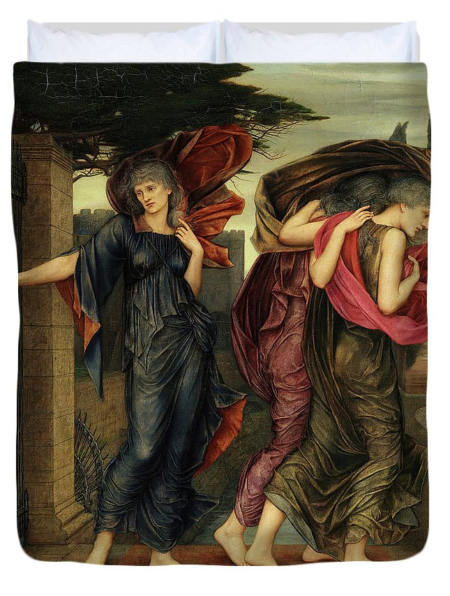 Evelyn De Morgan Duvet Cover featuring the painting The Grey Sisters, Phantoms, 1881 by Evelyn De Morgan