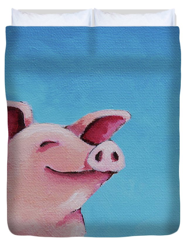 Pig Duvet Cover featuring the painting The Happiest Pig by Lucia Stewart