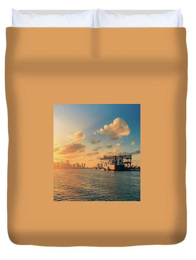 Freight Transportation Duvet Cover featuring the photograph The Industrial Port Of Miami by Thepalmer