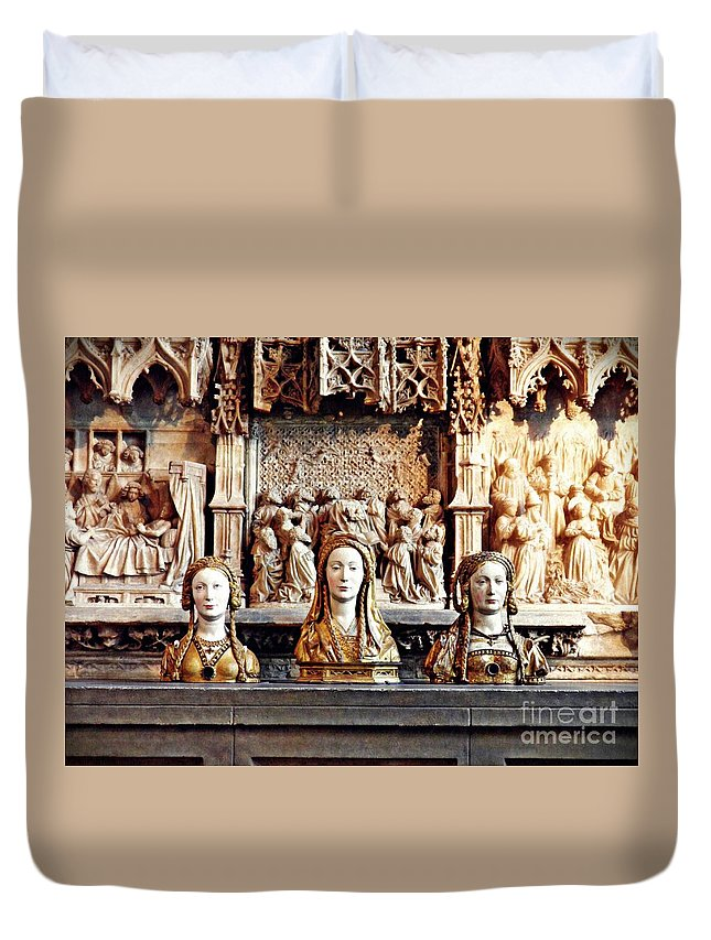Reliquary Duvet Cover featuring the photograph The Ladies On The Altar by Sarah Loft