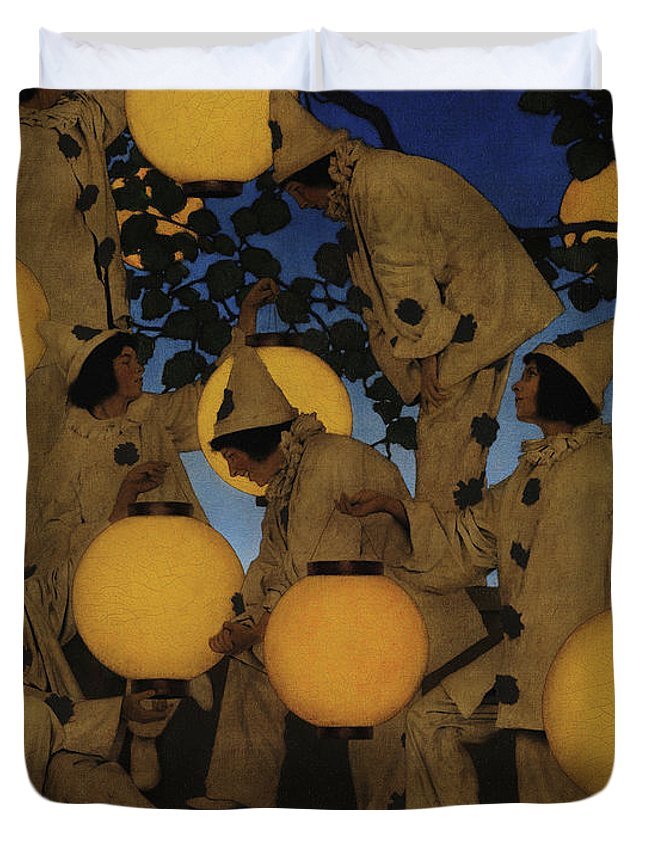 Maxfield Parrish Duvet Cover featuring the painting Lantern Bearers by Maxfield Parrish
