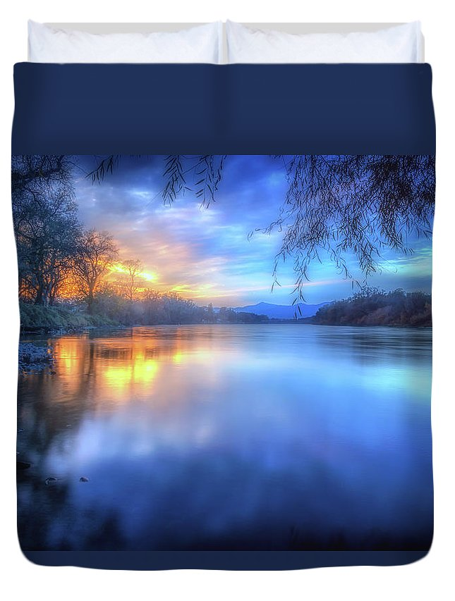 Anderson Duvet Cover featuring the photograph The Last Light Sunset On The Sacramento River by Marnie Patchett