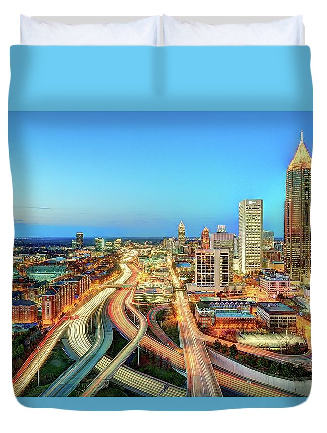 Atlanta Duvet Cover featuring the photograph The Lifeblood Of Atlanta by Photography By Steve Kelley Aka Mudpig