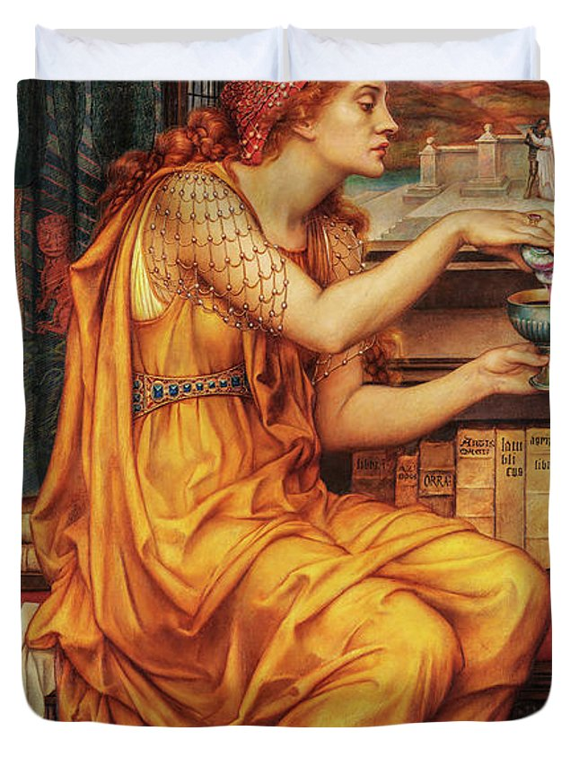 Evelyn De Morgan Duvet Cover featuring the painting The Love Potion, 1903 by Evelyn De Morgan