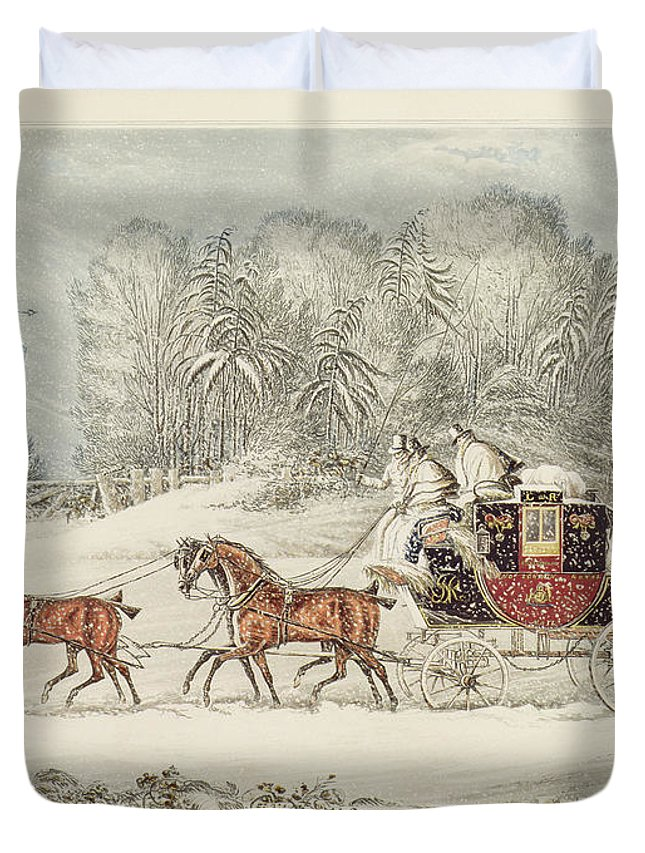 The Mail Coach In A Storm Of Snow Duvet Cover featuring the painting The Mail Coach In A Storm Of Snow 1825 by James Pollard