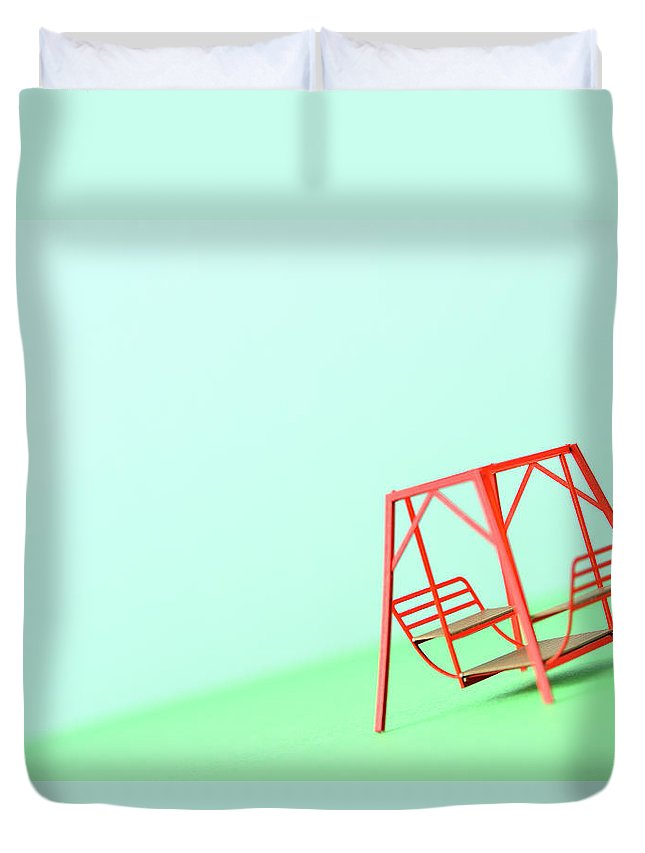 Paper Craft Duvet Cover featuring the photograph The Model Of The Swing Made Of The Paper by Yagi Studio