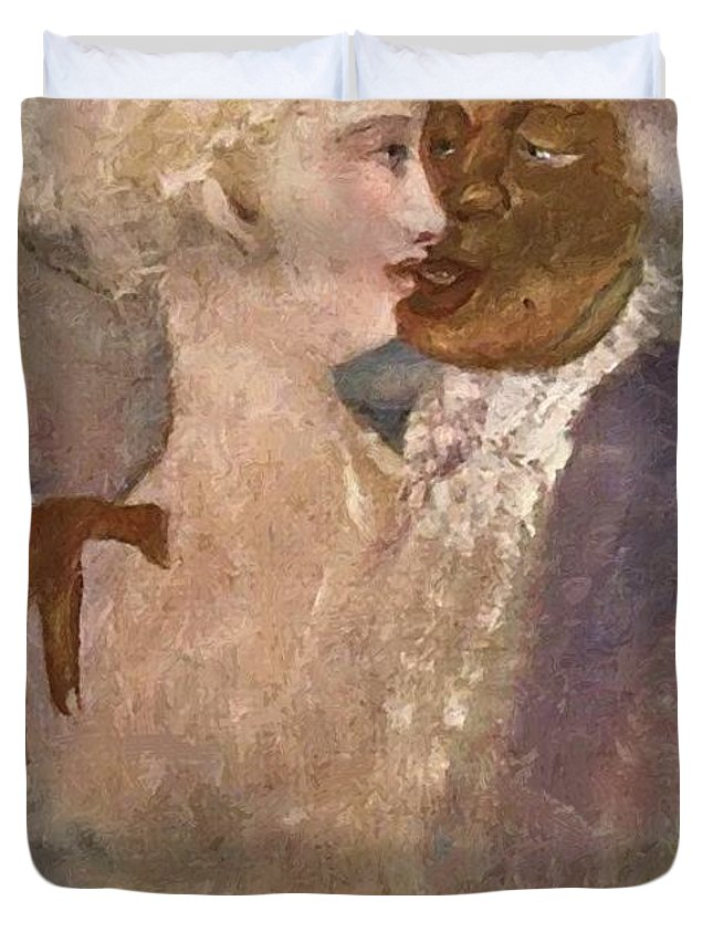 The Duvet Cover featuring the painting The Mulatto And The Sculpturesque White Woman 1913 by Gulacsy Lajos