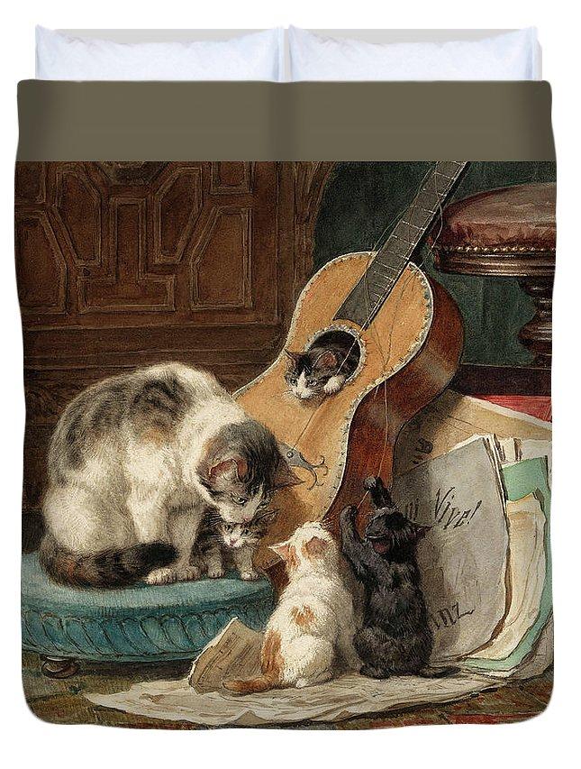 Henriette Ronner-knip Duvet Cover featuring the painting The Musicians by Henriette Ronner-Knip