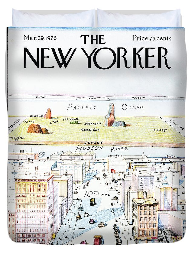 The New Yorker Duvet Cover featuring the painting The New Yorker - March 29, 1976 by Saul Steinberg