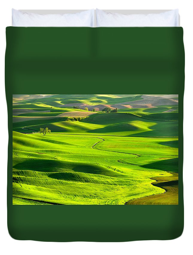 Scenics Duvet Cover featuring the photograph The Palouse Rolling Hills by Justinreznick