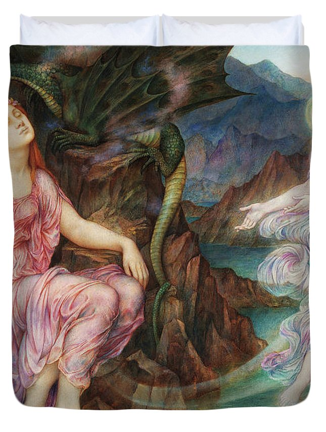 Evelyn De Morgan Duvet Cover featuring the painting The Passing Of The Soul At Death, 1919 by Evelyn De Morgan