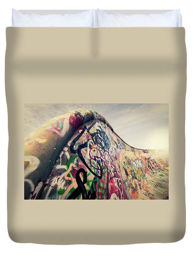 Orange Color Duvet Cover featuring the photograph The Ramp by Ppampicture