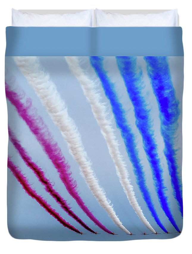 Duvet Cover featuring the photograph The Red Arrows. by Angela Aird