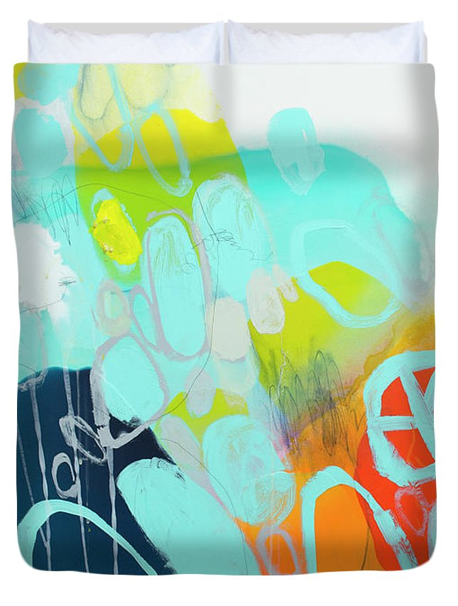 Abstract Duvet Cover featuring the painting The Right Thing by Claire Desjardins