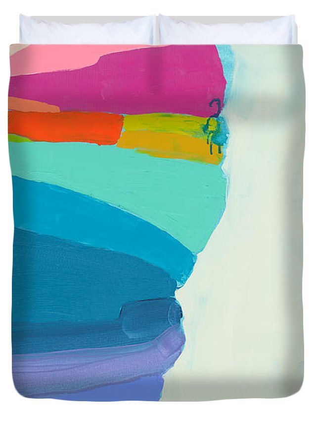 Abstract Duvet Cover featuring the painting The Right Timing by Claire Desjardins
