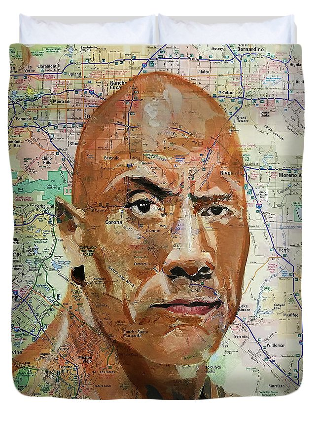 The Rock Duvet Cover featuring the mixed media The Rock From California by Kyle Willis
