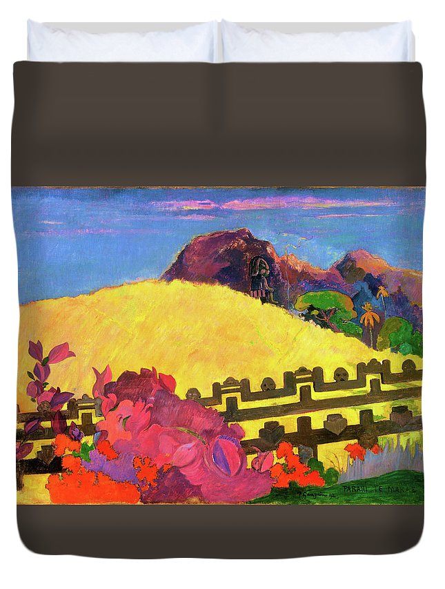 Paul Gauguin Duvet Cover featuring the painting The Sacred Mountain - Digital Remastered Edition by Paul Gauguin