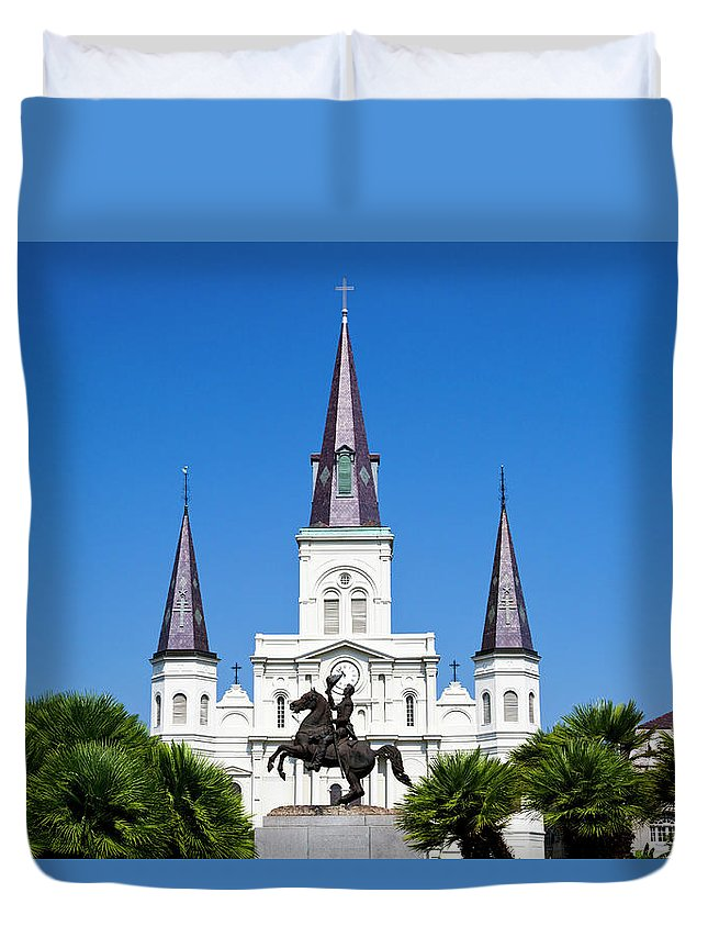 Treetop Duvet Cover featuring the photograph The St. Louis Cathedral by Photostock-israel