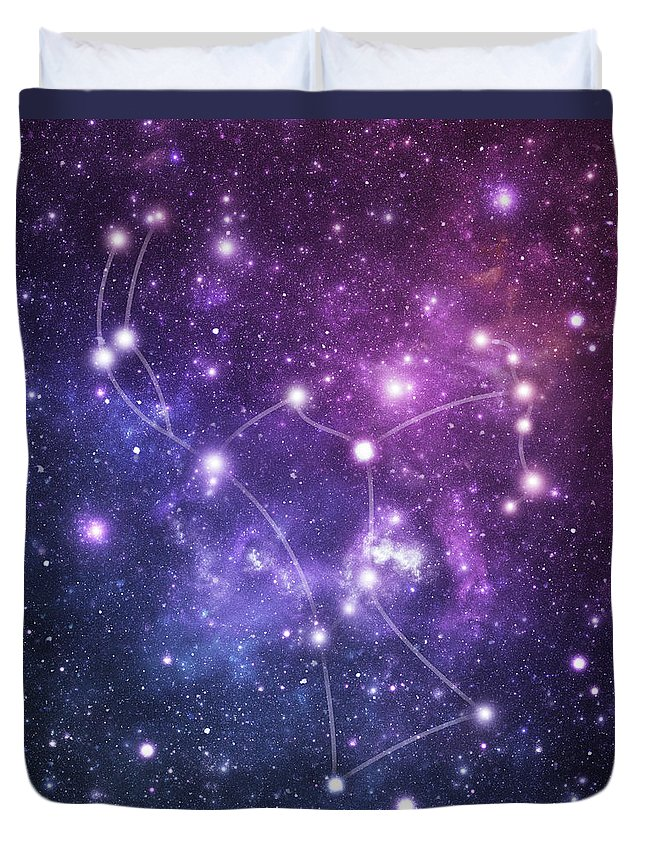 Black Color Duvet Cover featuring the photograph The Stars Constellation Of Orion by Sololos