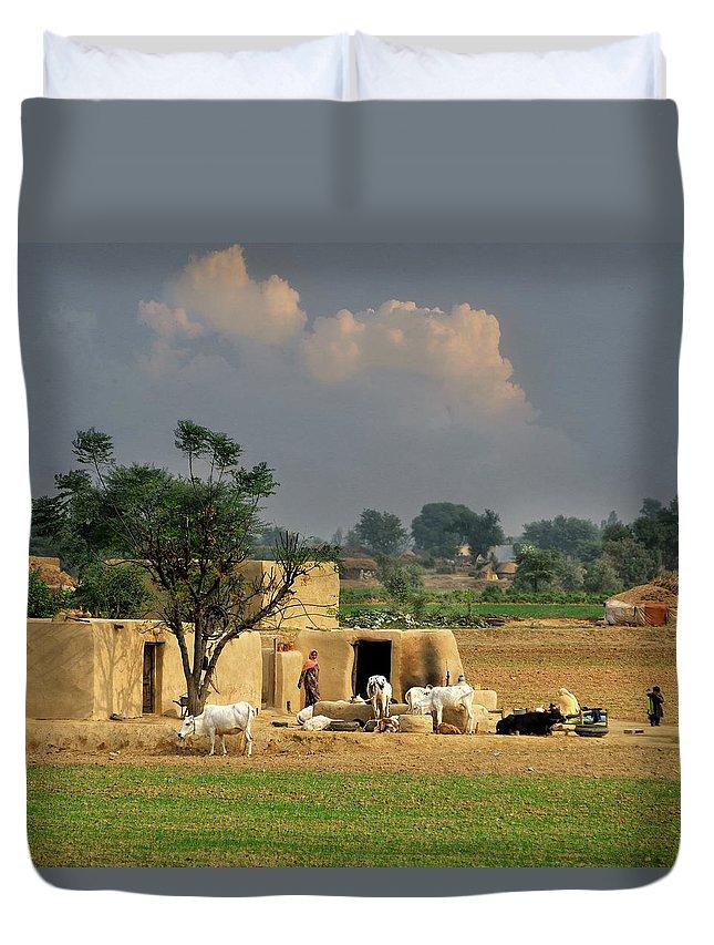 Grass Duvet Cover featuring the photograph The Village Of Punjab by Nadeem Khawar