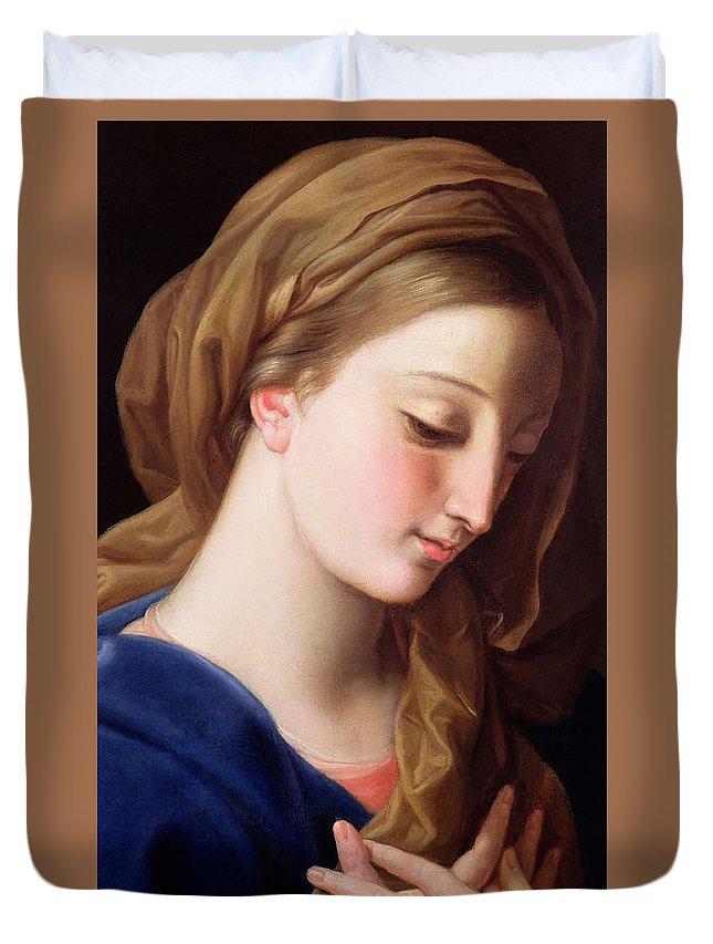 The Virgin Annunciate Duvet Cover featuring the painting The Virgin Annunciate by Pompeo Girolamo Batoni