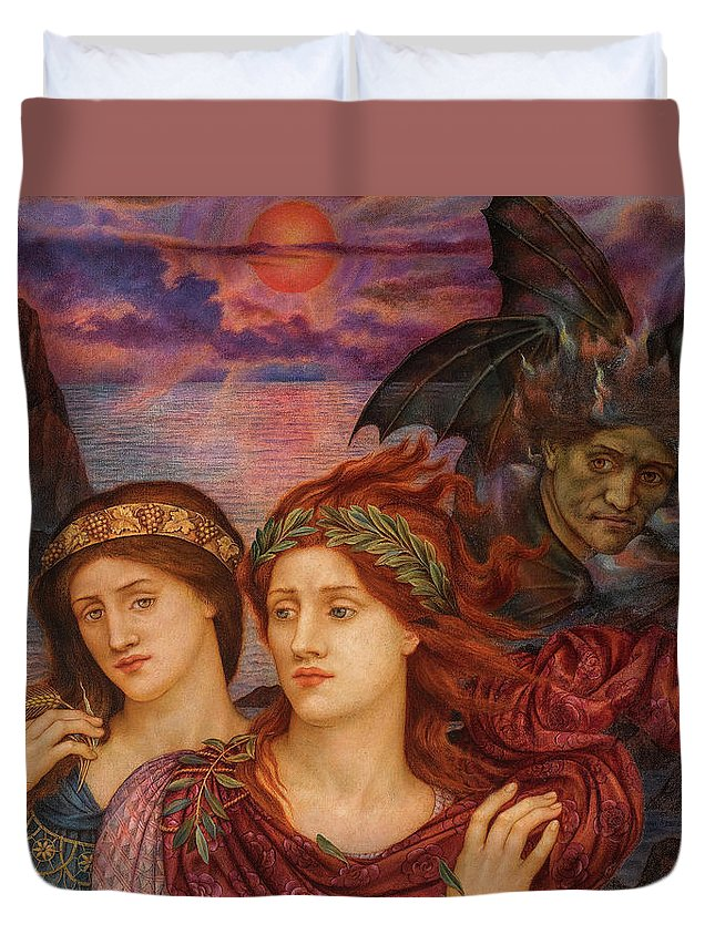 Evelyn De Morgan Duvet Cover featuring the painting The Vision, 1914 by Evelyn de Morgan