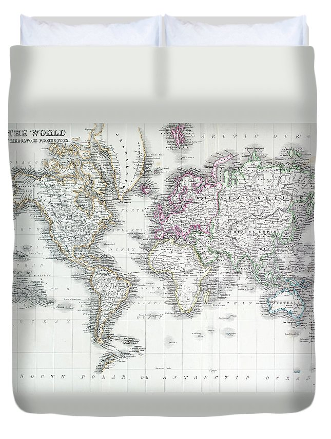 Styles Duvet Cover featuring the digital art The World On Mercators Projection by Andrew howe
