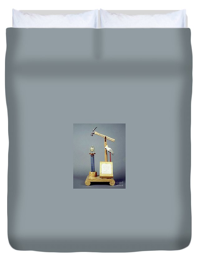 Czappa Duvet Cover featuring the sculpture This Great Moment In Time by Bill Czappa