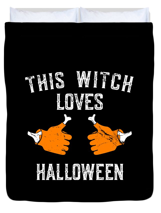 Cool Duvet Cover featuring the digital art This Witch Loves Halloween by Flippin Sweet Gear