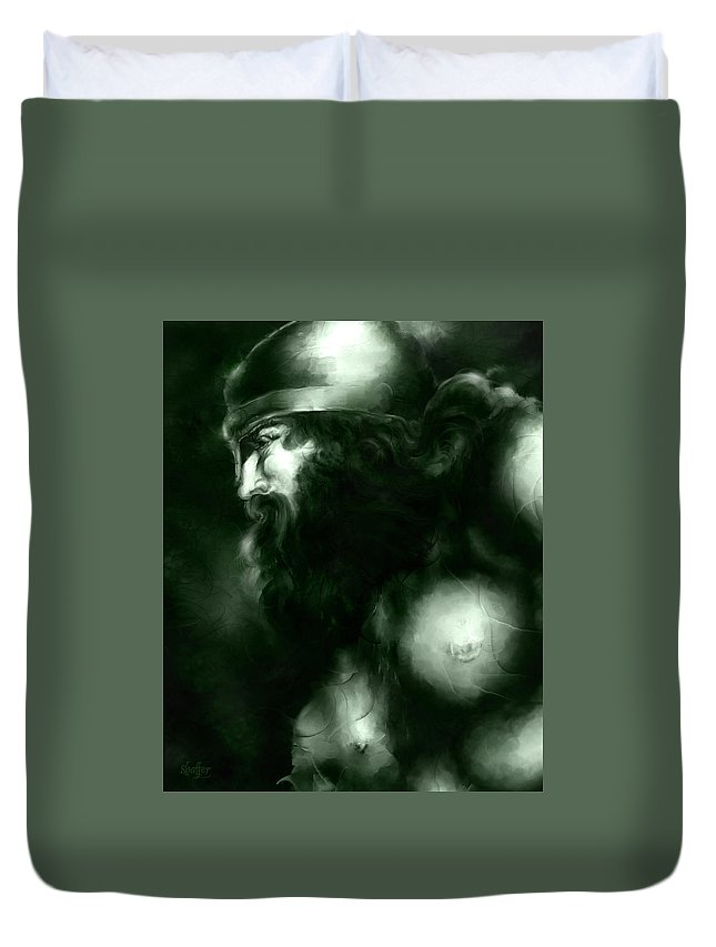Thor Duvet Cover featuring the mixed media Thor by Curtiss Shaffer