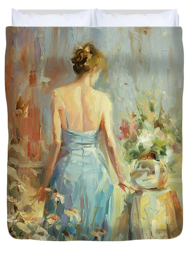 Woman Duvet Cover featuring the painting Thoughtful by Steve Henderson