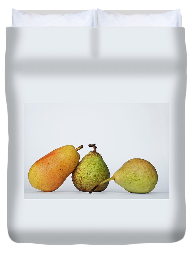 Healthy Eating Duvet Cover featuring the photograph Three Diferent Pears Isolated On Grey by Irantzu Arbaizagoitia Photography