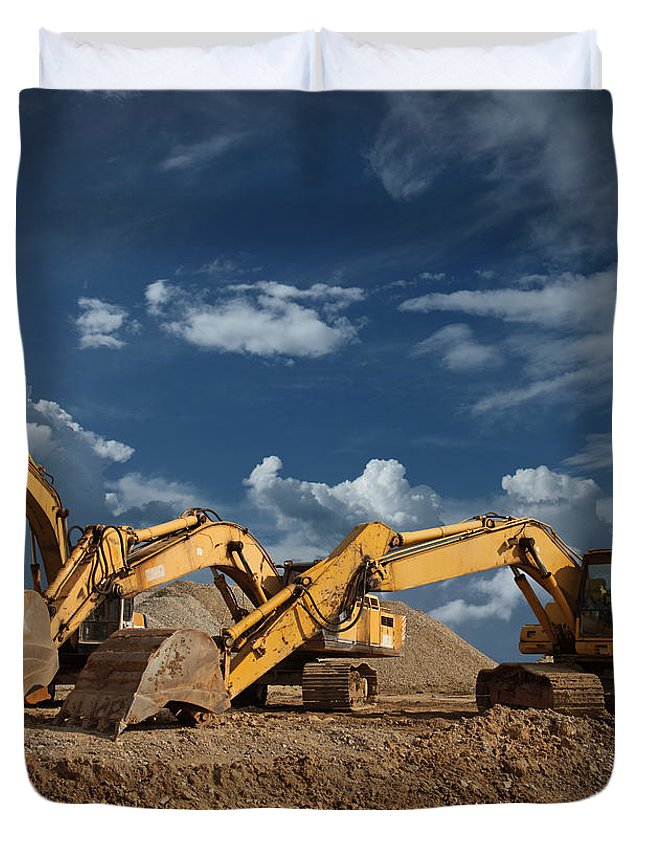 Working Duvet Cover featuring the photograph Three Excavators At Construction Site by Narvikk