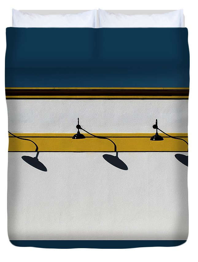 Urban Duvet Cover featuring the photograph Three Shadows by Stuart Allen