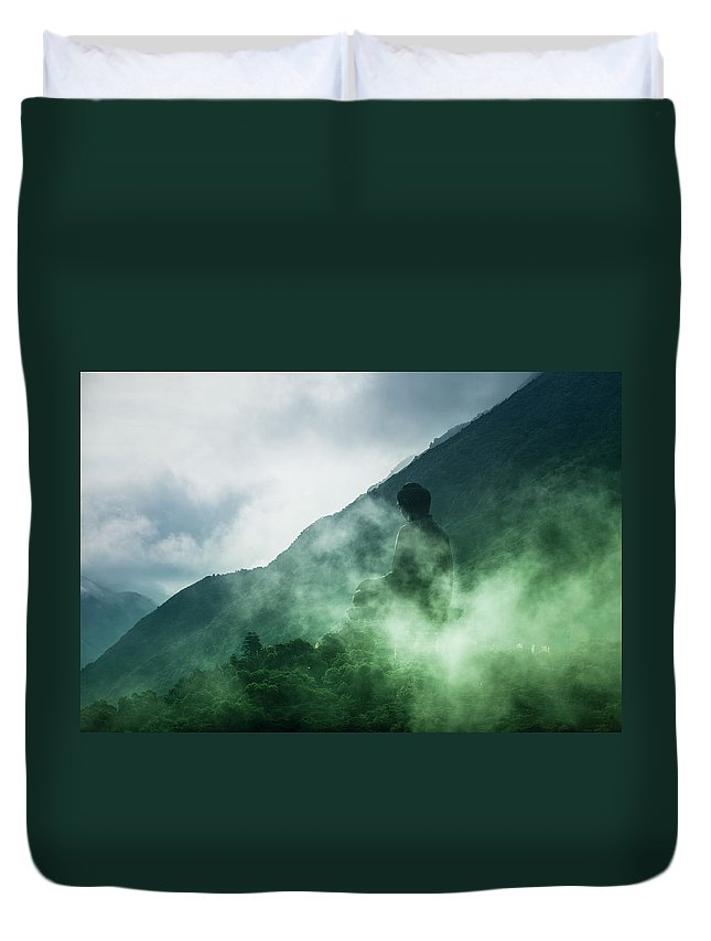 Chinese Culture Duvet Cover featuring the photograph Tian Tan Buddha On Hill In Clouds by Merten Snijders