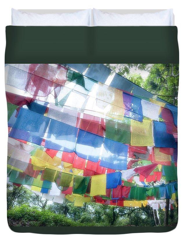 Hanging Duvet Cover featuring the photograph Tibetan Buddhist Prayer Flags by Glen Allison