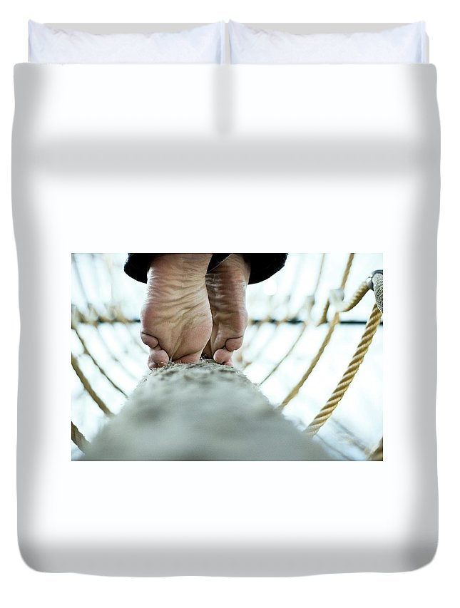 People Duvet Cover featuring the photograph Tight Rope by Www.flickr.com/photos/persnicketydame