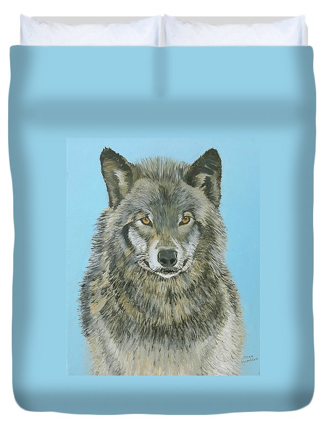 Timber Wolf Duvet Cover featuring the painting Timber Wolf 4 by Stan Hamilton