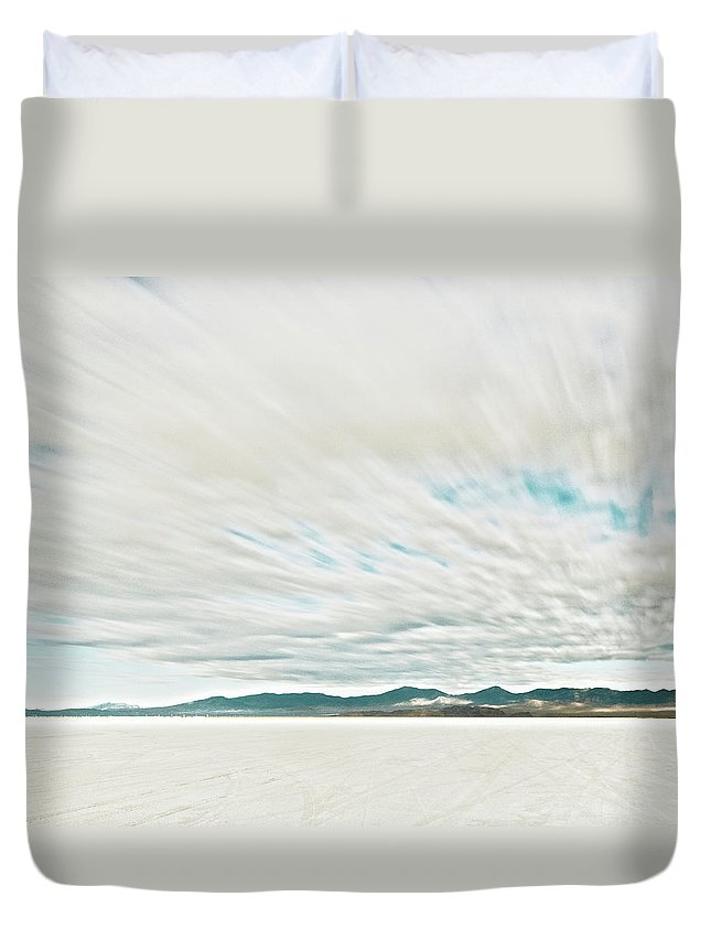 Tranquility Duvet Cover featuring the photograph Time Exposure Clouds In Motion Above by Andy Ryan