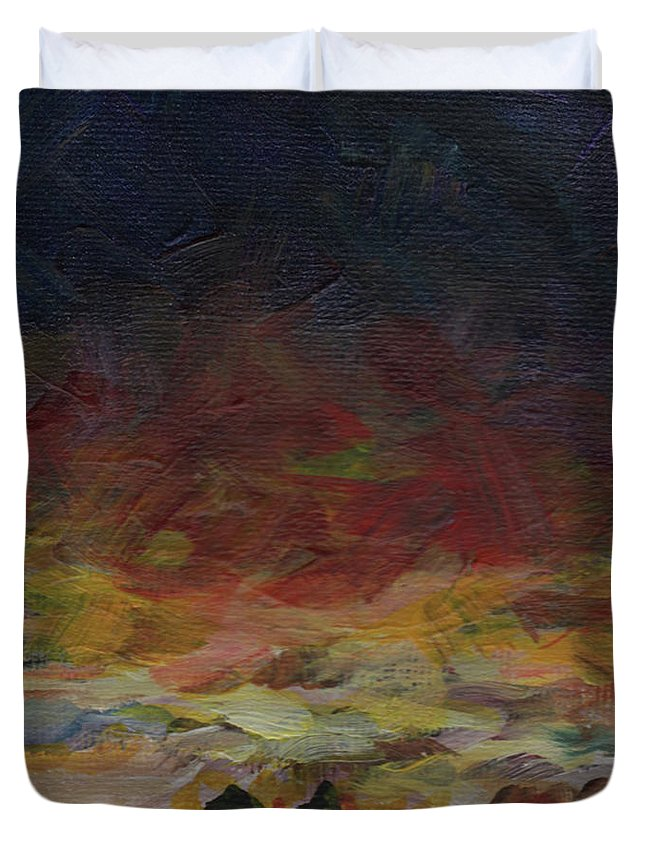 Sunset Duvet Cover featuring the painting Tiny Sunset by Susan Moore