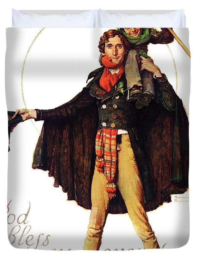 Christmas Carol Duvet Cover featuring the drawing Tiny Tim by Norman Rockwell