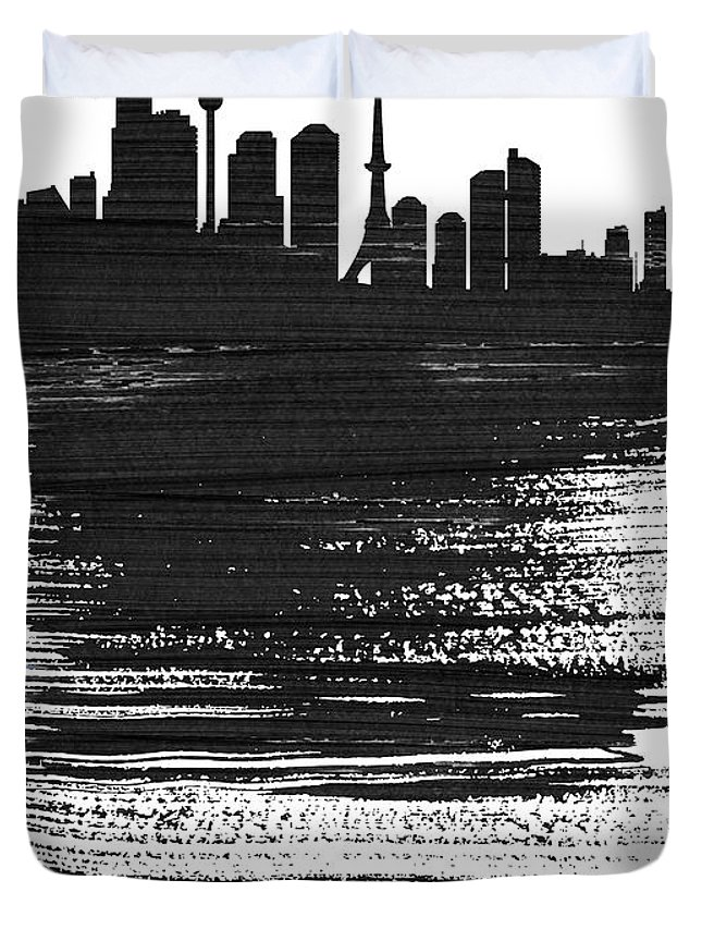 Tokyo Duvet Cover featuring the mixed media Tokyo Skyline Brush Stroke Black by Naxart Studio