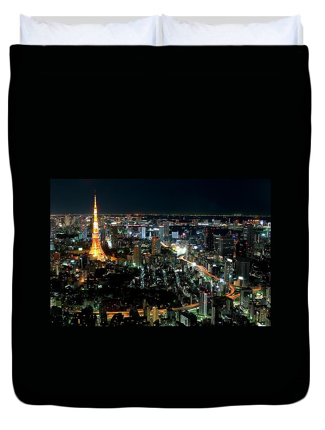 Tokyo Tower Duvet Cover featuring the photograph Tokyo Tower by Andreas Jensen