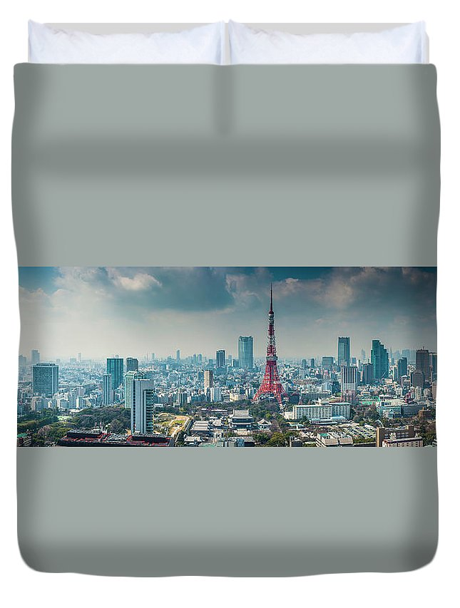 Tokyo Tower Duvet Cover featuring the photograph Tokyo Tower Futuristic Skyscraper by Fotovoyager