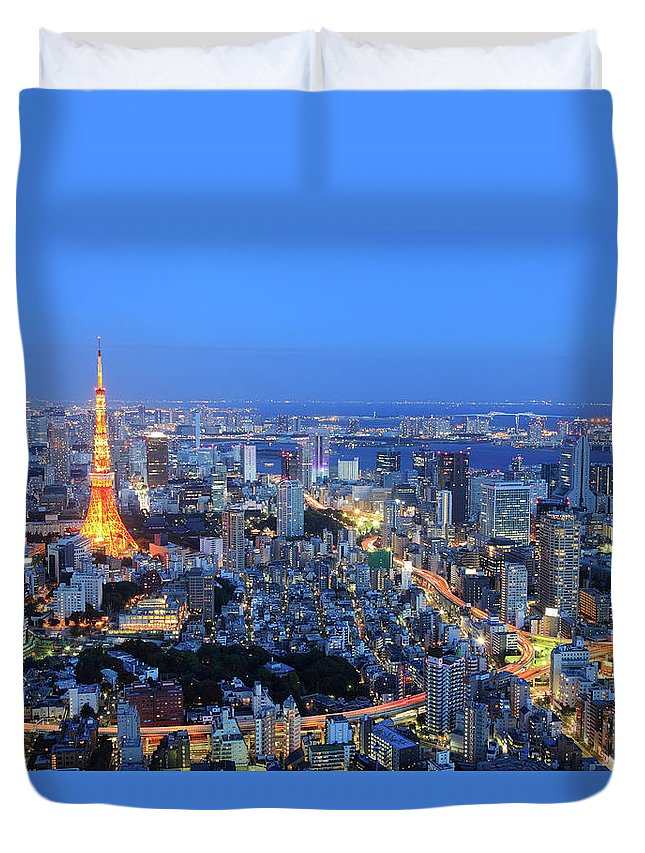 Tokyo Tower Duvet Cover featuring the photograph Tokyo Tower View From Mori Tower by Krzysztof Baranowski