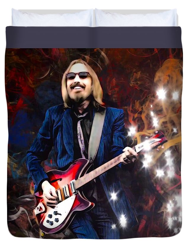 Tom Petty Duvet Cover featuring the digital art Tom Petty Portrait by Scott Wallace Digital Designs