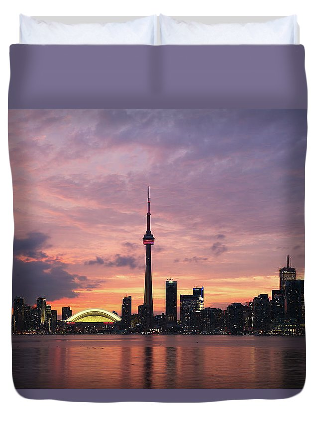 Lake Ontario Duvet Cover featuring the photograph Toronto by Js`s Favorite Things